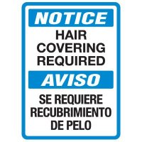 Bilingual Food Industry Safety Signs - Notice Hair Covering Required