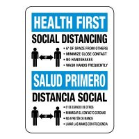 Bilingual Health First Social Distancing Signs