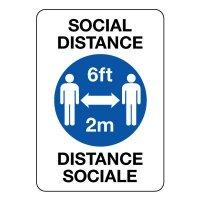 Bilingual Social Distancing 6FT/2M Sign