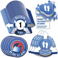 3D Social Distancing Label Kit for Bus Seats - Blue