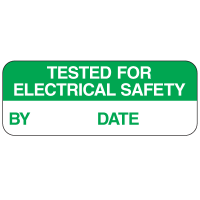 Tested For Electrical Safety By Date Labels For Greasy Surfaces