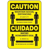 Caution Maintain Social Distancing Bilingual Sign