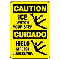 Bilingual OSHA Caution Sign: Ice Watch Your Step / Cuidado Hielo Mire Por Donde Camina