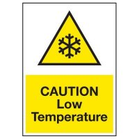 Cold Adhesion Safety Labels - Caution Low Temperature (W/ Graphic)