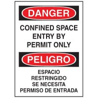 Confined Space Labels - Confined Space Entry By Permit Only (Bilingual)