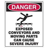 Conveyor Safety Signs - Danger Exposed Conveyors And Moving Parts