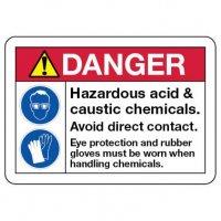 Danger Sign: Hazardous Acid & Caustic Chemicals