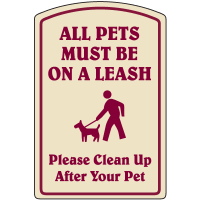 Designer Property Signs - All Pets Must Be On Leash