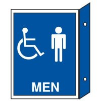 Handicap Men's Restroom Signs - Double Faced