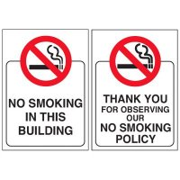 Double-Sided No Smoking Window Signs - NO SMOKING IN THIS BUILDING
