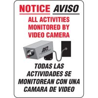 Bilingual Eco-Friendly Signs - Notice Aviso All Activities Monitored By Video Camera