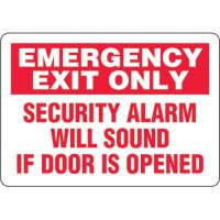 Eco-Friendly Sign - Emergency Exit Only Security Alarm Will Sound If Door Is Opened