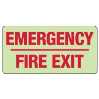 Emergency Fire Exit Photoluminescent Sign