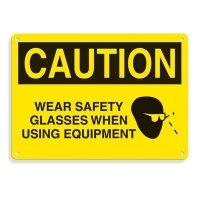 Equipment Hazard Mini Safety Signs - Caution Wear Safety Glasses When Using Equipment
