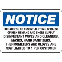 Notice: Essential Items Limited 1 Per Customer Sign