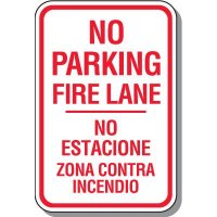 Fire Lane Signs - Bilingual No Parking Fire Lane