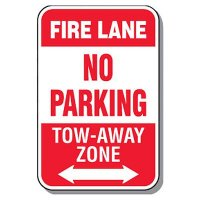 Fire Lane Signs - Fire Lane No Parking (Double Arrow)