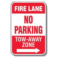 Fire Lane Signs - Fire Lane No Parking (Right Arrow)