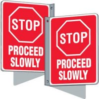 Flanged Traffic Signs - Stop Proceed Slowly