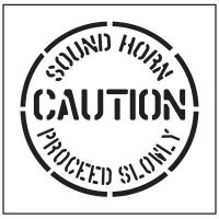 Floor Stencils - Caution Sound Horn Proceed Slowly