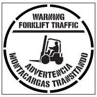 Pavement Tool Floor Stencils - Warning Forklift Traffic Advertencia Montacargas Transitando S-5516 D