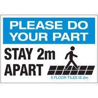 Stay 2M Apart Floor Tiles Landscape Decal