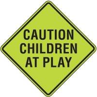 Fluorescent Pedestrian Signs - Caution Children At Play