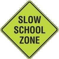 Fluorescent Pedestrian Signs - Slow School Zone