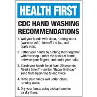 CDC Hand Washing Recommendations Label