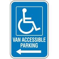 Handicap Van Accessible Parking Sign with Left Arrow