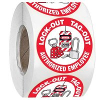 Hard Hat Safety Labels On A Roll - Lock-Out Tag-Out