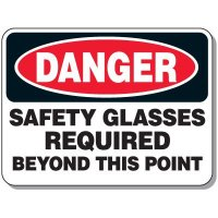 Heavy-Duty Protective Wear Signs - Danger Safety Glasses Required Beyond This Point