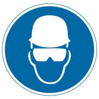 International Symbols Labels - Wear Head & Eye Protection (Graphic)