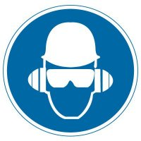 International Symbols Labels - Wear Head, Hearing & Eye Protection (Graphic)