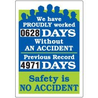 Jumbo Dial-A-Day Safety Scoreboard - Proudly Worked Without Accident