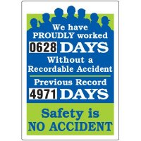 Jumbo Dial-A-Day Safety Scoreboard - Worked Without Recordable Accident