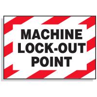 Lockout Hazard Warning Labels- Machine Lock-Out Point