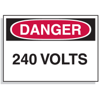 Lockout Hazard Warning Labels- Danger 240 Volts