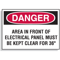 Lockout Hazard Warning Labels- Danger Area In Front Of Electrical Panel Must Be Kept Clear For 36""