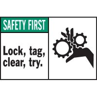 Machine Warning Labels - Safety First Lock Tag