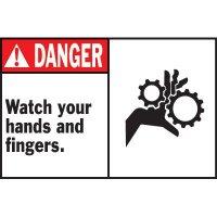 Machine Warning Labels - Danger Watch Your Hands