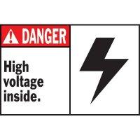 Machine Warning Labels - Danger High Voltage Inside