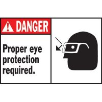 Machine Warning Labels - Danger Proper Eye Protection Required