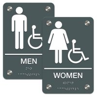 Man/Woman (Accessibility) - Premium ADA Braille Restroom Sign Sets