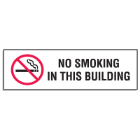 "Mini No Smoking Signs - 3""W x 10""H No Smoking In This Building"