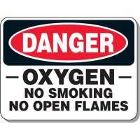 Danger Sign - Oxygen No Smoking No Open Flames
