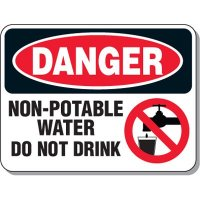 Non-Potable Water Do Not Drink Sign