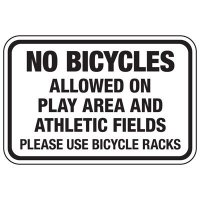 No Bicycles Allowed On Play Area - Athletic Facilities Signs