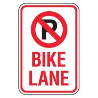 No Parking Signs - Bike Lane With No Parking Graphic