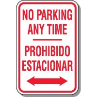 No Parking Signs - Bilingual No Parking Anytime (Double Arrow)